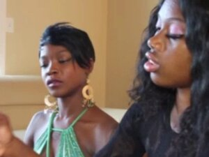 Ebony glam duo tug a white cock together