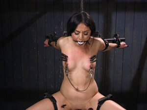 Horny gagged brunette vibed in bondage