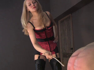 Mean dominatrix whipping worthless slave ass -
