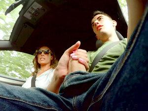 Ava Austen strokes hitchhiker Jordi's massive cock