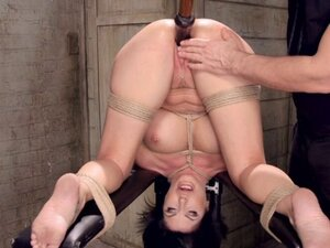 Huge tits hogtied Milf pussy toyed