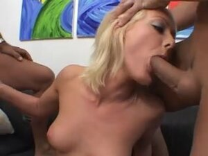 Blonde whore learns about two dicks in one hole