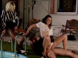 Wife and mistress both pussy fucked by lucky guy