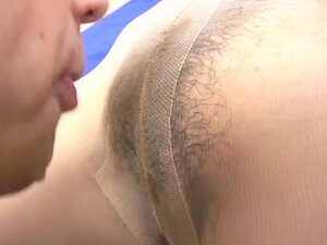 Japanese in nylon and -fold sucking and gets cock