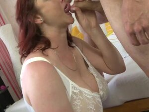 Aged redhead mommy shows off biggest scoops and