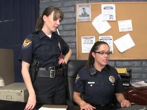 Two female police officers get ass fucked in an
