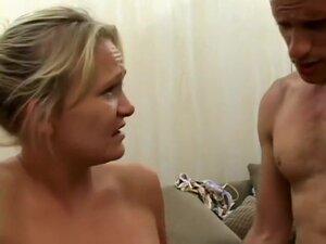 Lustful blonde milf Katie has two hung guys