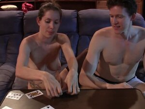 Couple playing strip cards turns to sucking and