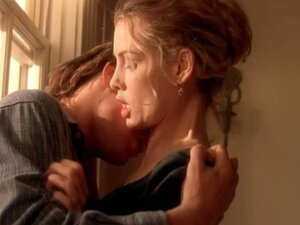 Nude celeb Saffron Burrows making out with her