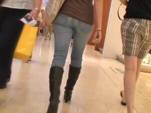 Sexy asses in tight jeans walking around clip by
