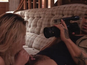 Pretty blonde teen Goldie Rush gets filmed by