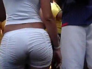 Big Brazilian butt in amazing white shorts, Follow