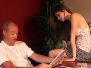 Lucky old man Fuck hot brunette Slow motion cum