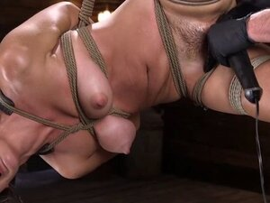 Hairy Asian fingered in hogtie suspension