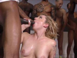 Blonde Slut Sucks Big Black Cocks