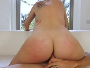 Stunning blonde babe rides her step dads cock like