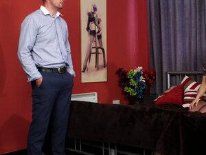 Busty domina babe instructing a guy