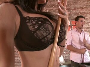 Bad girl in fishnets gives a blowjob then rides