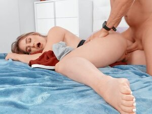 Kenzie Madison lying on her stomach got her pussy