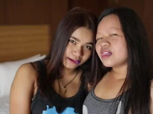 Asian mother and her sexy daughter suck and ride