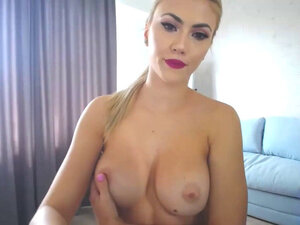 Hot blonde teasing boobs camshow
