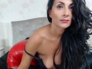 Raven Haired Milf Teases In Red Leather Dress,