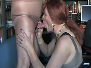Stocking fetish and cock sucking, Janette is my