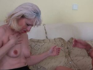 Teen tattooed Girl and old skinny Granny and their