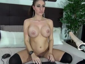 Perfect busty babe nailed by a fuck machine,