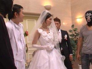 Sexy bride Yui Tatsumi gets fucked hard by four