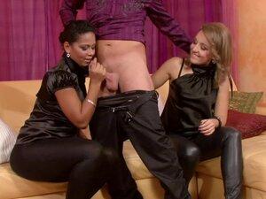 Black satin on girls taking cock