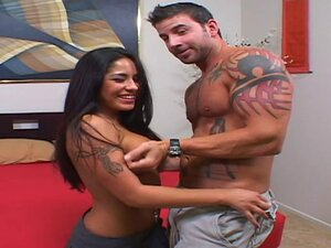 Tanned porn hottie and a muscular man fucking