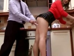 Young blonde gets fucked in th kitchen by old man