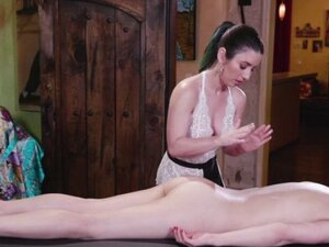 Olive Glass enjoys a lesbian sex in the massage