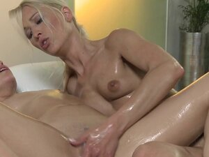 Massage Rooms Perfect breasts are oiled and