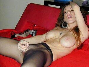 Pantyhose Instructor, This slender brunette beauty