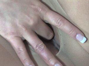 Milf rubs her pussy on office desk