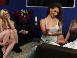 CFNM brit babes wanking lucky dudes cock