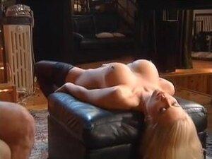 Perfect blonde banged during bukkake orgy,