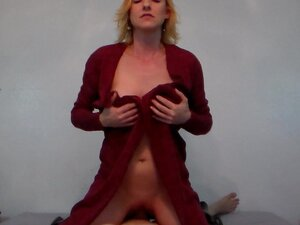 Cock Riding Wearing Cardigan and PVC Boots Until