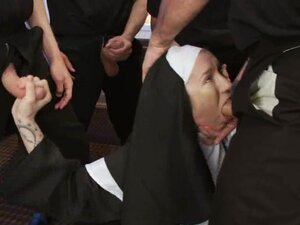 Slutty nun gets gangbanged right after the mass
