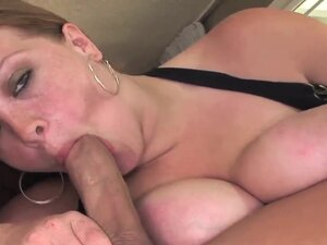 This busty MILF sucks and rides a stiff dick like
