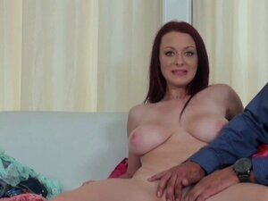 Real bigtit redhead at casting couch x