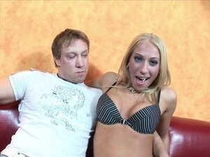 Exotic Blonde Takes A Mouthful Of Cock