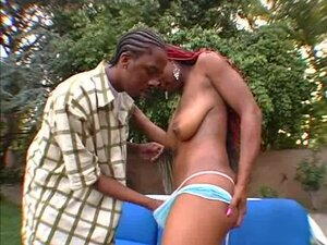 Sexy black babe takes on her man's giant boner in