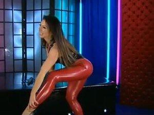 Red latex leggings, Darksome latex top, Black