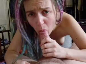 Dread babe sucking dick and get cum on face