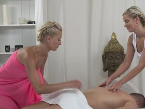 Massage Rooms Young blondes ride hard cock as they