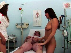 Stunning brunette patient and gorgeous nurse fuck