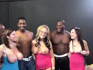 Interracial orgy session with ravishing starlets
